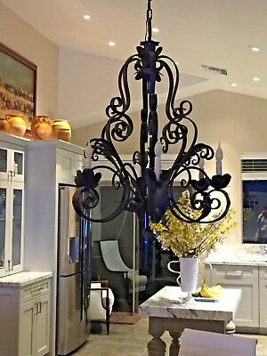 Antique French Wrought Iron Chandelier Six Lights  18th C