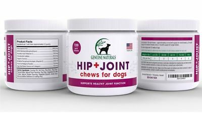 GENUINE NATURALS Hip and Joint Soft Chews for Dogs Glucosamine Chondroitin 120