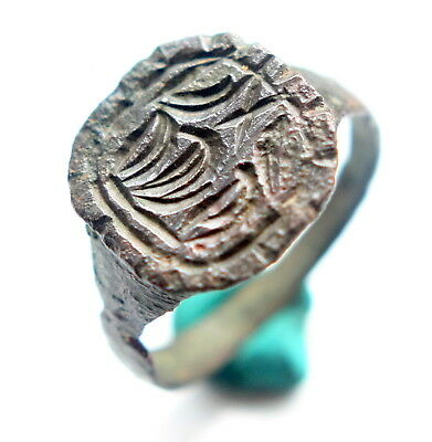 Ancient Bronze Finger Pseudo-Heraldry Ornament Ring (SEP01)