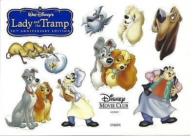 "Disney Movie Club Promo Lady and the Tramp Sticker Sheet 5""x7"" Siamese Cats Cleo"