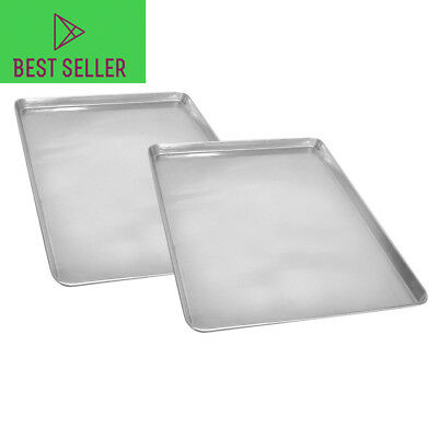 """2 Half Size Commercial Grade Aluminum Baking Cookie Sheet Tray Pan - 18"""" x 13"""""""