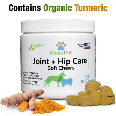 MaxxPet Hip and Joint Soft Chews for Dogs Glucosamine Chondroitin Turmeric 120