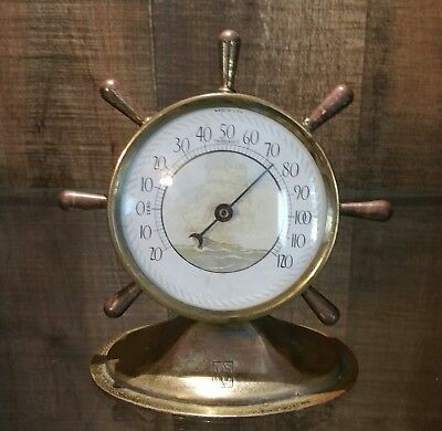 Vintage Brass Table Top Ship's Wheel Nautical Themed Working Thermometer