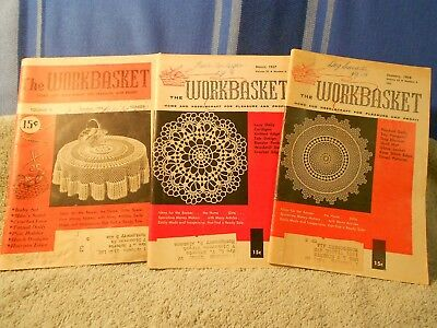 50% OFF!!  3 Workbasket Home Arts Vintage '50s Mags Knit Crochet Sew Cook More!!