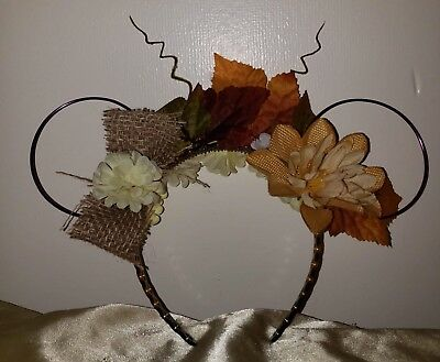 Minnie Mouse Fall Floral Wire Ears Handmade