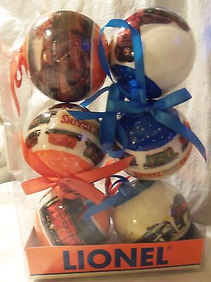 New - 2013 Set Of 6 Lionel Train Christmas Round Ball Ornaments - 2