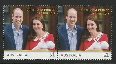 Australia 2018 : Birth of a Prince, ( Louis ) $1.00 Stamps,  Joined pair. MNH