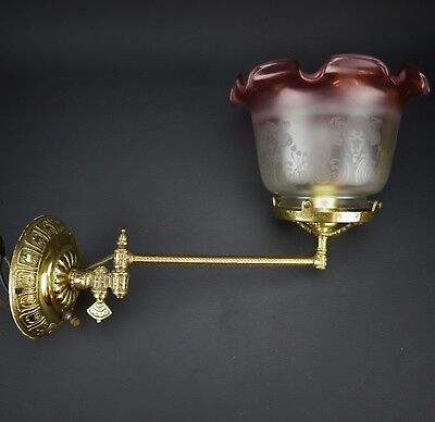 "Brass Antique Hinged Wall Sconce w/ Cranberry Etched Glass Shade 3 3/4"" Fitter"