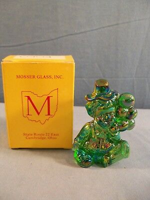 Koko Mosser Clown Collectible Figurine With Box - Green Carnival Glass