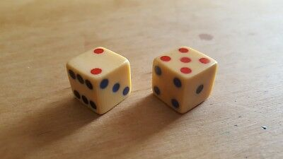 Rare Pair Of Antique Dice Made Of French Ivory-Tri Color Inlaid Spots-Beautiful