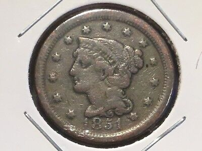 """1851 US """"Braided Hair"""" Large one cent coin.  167 years old."""