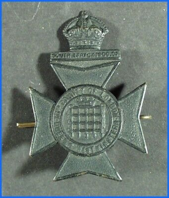 WWII ORIGINAL BRITISH QUEEN'S WESTMINSTERS 16th COUNTY OF LONDON CAP BADGE