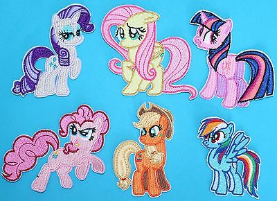 6 My Little Pony Embroidered Iron On Patch Appliqué Rainbow Dash Pinkie Pie NEW
