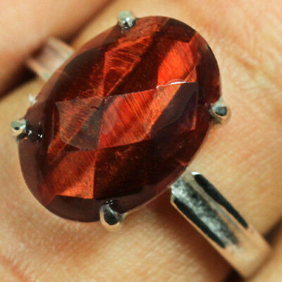 13.6CT Natural 18K Gold Plated Red Tigereye Facted Ring UDHH148