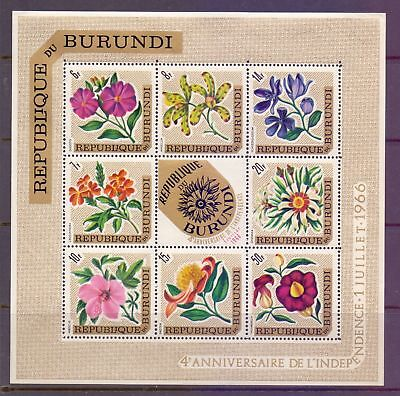 Burundi  1966  4th Ann. Of Independence, insert floral emblem, MH.