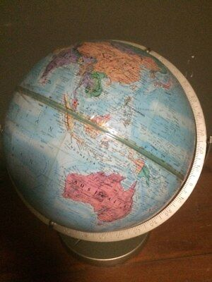 "Vintage Replogle World Nation 12"" Globe ~ raised relief,metal stand,timedial"