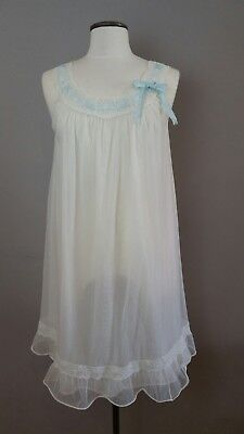 Vintage Babydoll Foster Reid White Nightie Sissy Sheer Double Layer 1960s