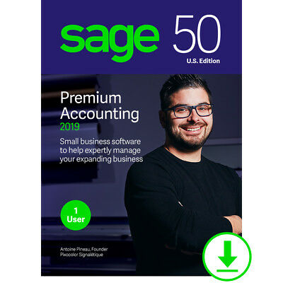 Sage 50 1 User PREMIUM 2019-20, NOT SUBSCRIPTION-Download/(DVD opt)-Retail Stock