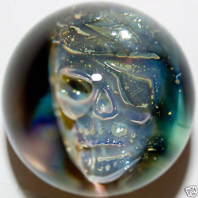 "1 1/2"" Marble, STEVE HITT , PIRATE SKULL, very beautiful and rare - 3,81  cm"