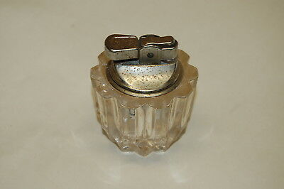 Vintage  CRYSTAL Clear CUT GLASS Table Top CHROME Cigarette LIGHTER