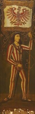 Fine 16th 17th Century German Old Master Gentleman Brandenburg Flag Oil Painting