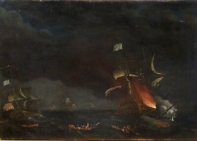 Large 18th Century British Royal Navy Prince George Bay Of Biscay 1758 Painting