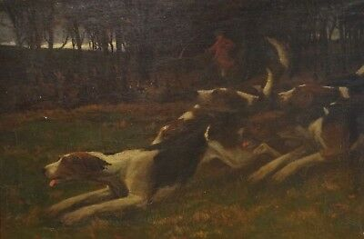 Huge 19th Century English Foxhounds Fox Hunt Dogs Antique Oil Painting Hunting