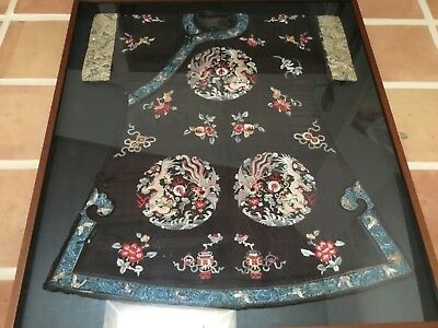 "Antique Qing Chinese silk 5 claw dragon Imperial robe MUSEUM PIECE 45x40"" frame"