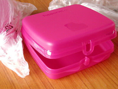 2 NEW TUPPERWARE Sandwich Keeper Container NEW STYLE CLASP Pink Fuchsia NIP 8203