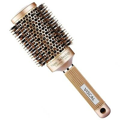 Best Hair Brush Barrel Round Nano Thermal Ceramic Boar Bristle Comb Styling NEW