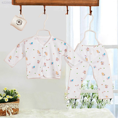 5060 2Pcs Newborn Baby Clothing 0-3 Month Gowns Button Tops+Pants Underwear