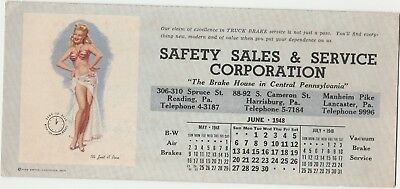"1948 Calendar Pin-Up Blotter ""It's Just a Pose"" Safety Sales & Service Co - Nice"