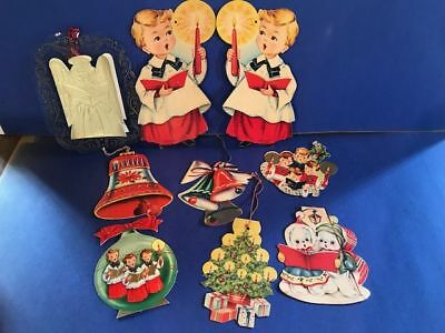 Vintage Paper Christmas Decorations lot of 9 items from 1950's