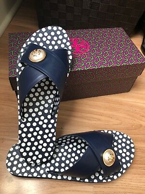 0f0b02d17473 Tory Burch Melody Navy Blue Criss Cross Slide Slip On Sandal Size 8 - NWB