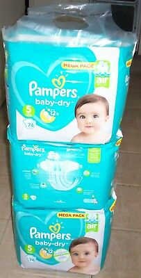 Couche Pampers baby-dry 5 11-16 kg 24-35 lbs Mega pack 222 couches lot2