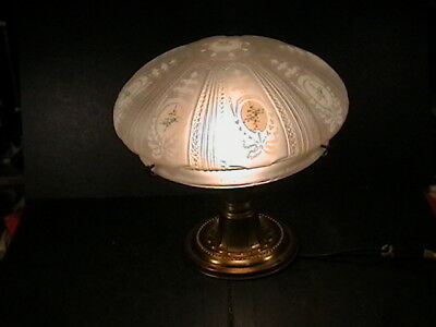 """Antique Arrow Solid Brass Ceiling Light Fixture 10"""" Frosted Shade Hand Painted"""