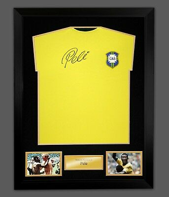 *New* Pele Signed Brazil Replica Football Shirt In A Frame. Signed On Front