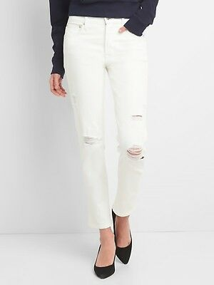 Gap High Rise Slim Straight Jeans with Distressed Detail, Sz 31 Off White (WP)