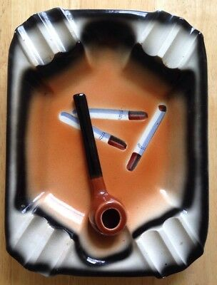1950s SMOKING BRIER PIPE CIGARETTES ASHTRAY, TILSO POTTERY JAPAN, MIDCENTURY