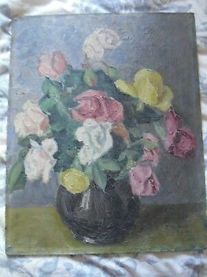 Vintage Floral Flower Oil Painting Of Roses 1940 16 In X 13 In On Board