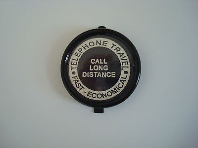 "Antique Western Electric telephone dial center set in black ""Long Distance"""