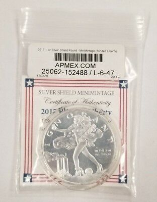 2017 1Oz Blinded Liberty Bu - Silver Shield In-Hand - Rare Mini-Mintage