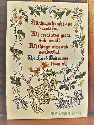 """Hand Embroidered Sampler, """"all Things Bright & Beautiful,""""  Belgian Linen"""
