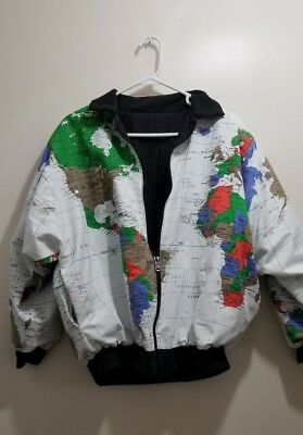VINTAGE WORLD Map Jacket M Globe Reversible Marguerite Rubel ...