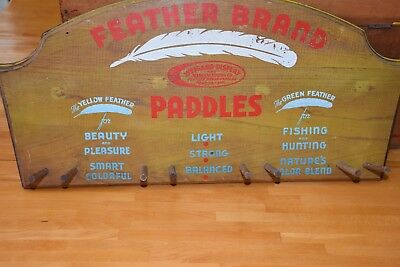 Vintage Feather Brand Canoeing Paddle Display Advertising Solid Wood Vibrant