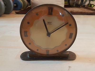 VINTAGE WOOD & Brass Base SMITHS SECTRIC ELECTRIC Battery MANTLE CLOCK