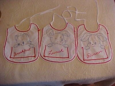 3 Vintage Embroidered Baby Bibs, Breakfast, Lunch, and Dinner