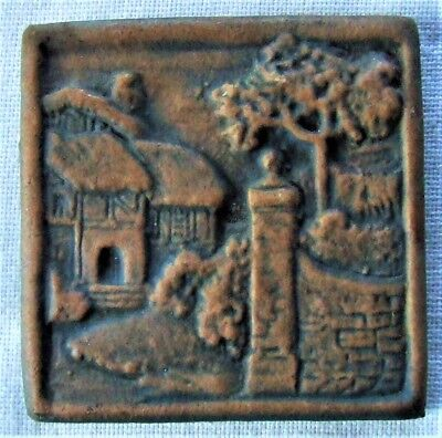 California Art Tile Cottage Scene Mission Revival Fireplace Accent New Old Stock