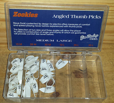 Lot of Jim Dunlop Steve Zook Zookies Angled Thumb Picks Series Z9000 10m,20m,30m