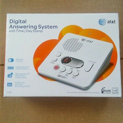 AT&T Digital Answering Machine White Call Screening Remote Access Time Stamp
